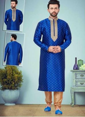 Cotton Silk Print Kurta Pyjama in Blue