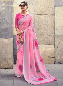 Cotton Silk Printed Pink Saree