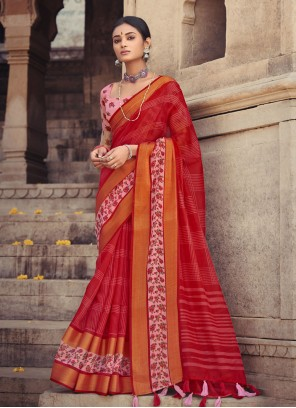 Cotton Silk Printed Saree in Red