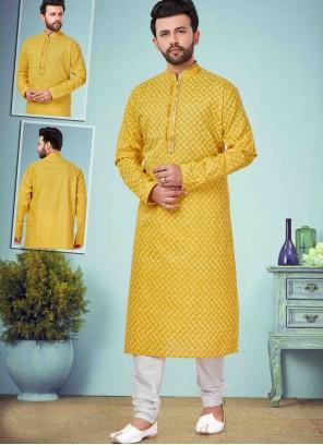 Cotton Silk Printed Yellow Kurta Pyjama