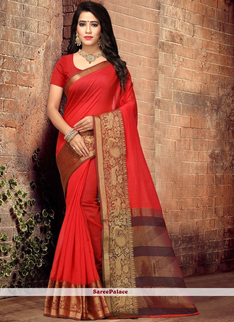 Cotton Silk Red Designer Traditional Saree
