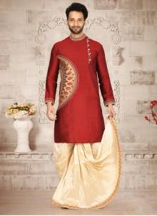 Cotton Silk Red Embroidered Dhoti Kurta