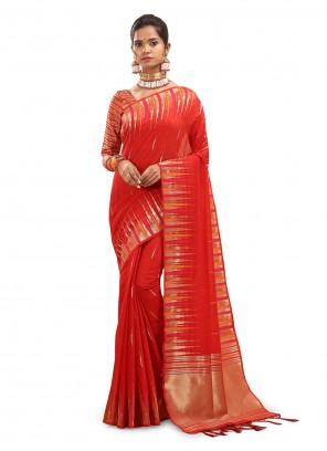 Cotton Silk Red Traditional Saree