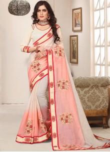 Cotton Silk Resham Pink Trendy Saree