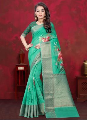 Cotton Silk Sea Green Digital Print Traditional Designer Saree