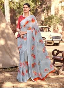 Cotton Silk Ceremonial Saree in Grey