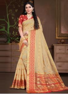 Beige Cotton Silk Traditional Designer Saree