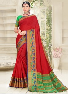 Cotton Silk Traditional Designer Saree in Red