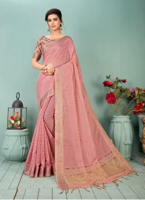 Pink Cotton Silk Traditional Saree