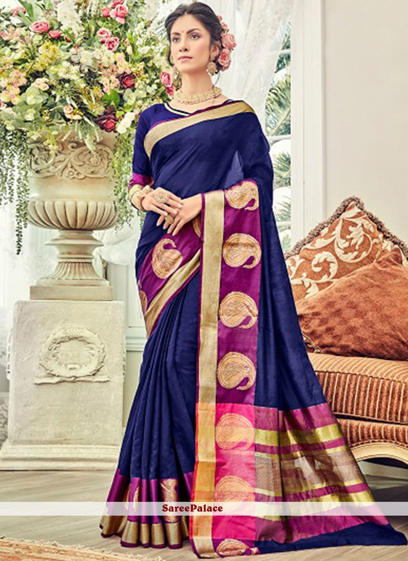 Cotton Silk Traditional  Saree in Blue
