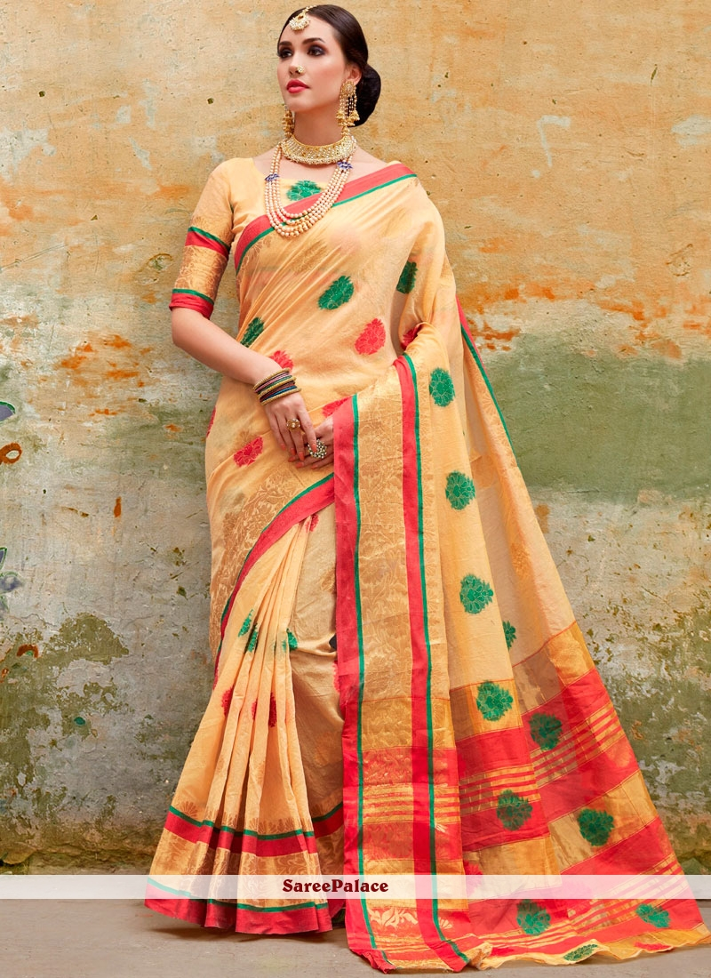 Cotton Silk Traditional Saree in Yellow