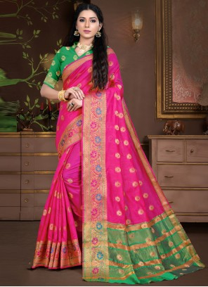 Cotton Silk Weaving Hot Pink Traditional Saree