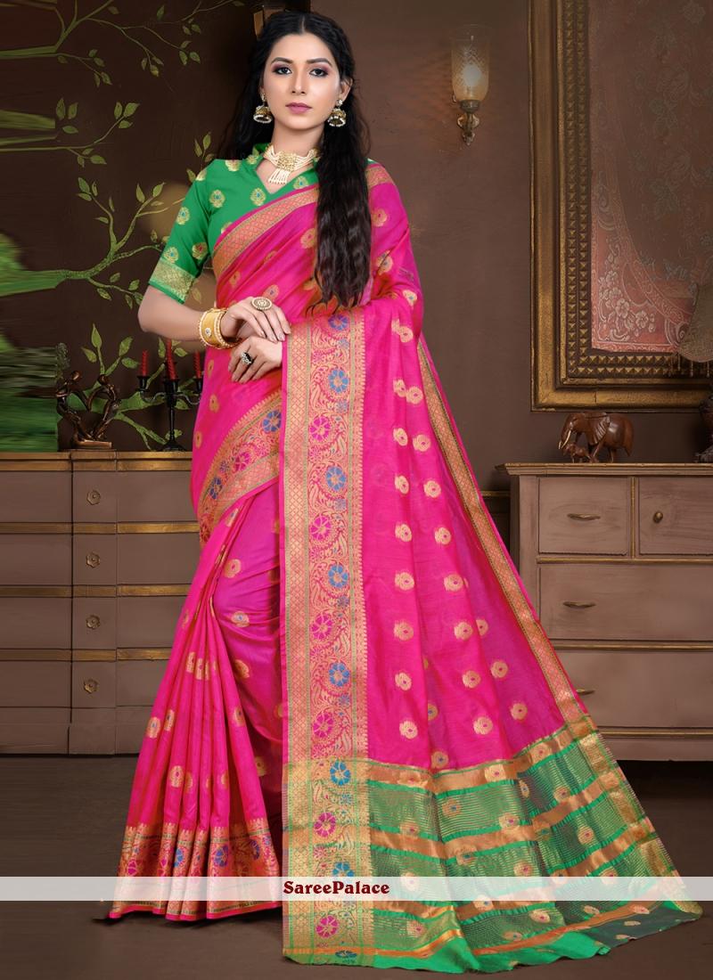Cotton Silk Weaving Hot Pink Traditional Saree