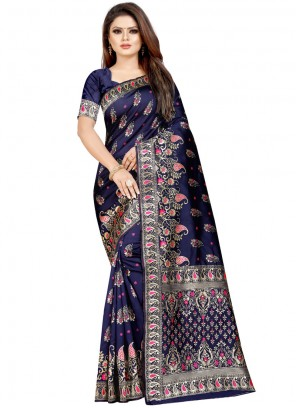 Cotton Silk Weaving Navy Blue Traditional Saree