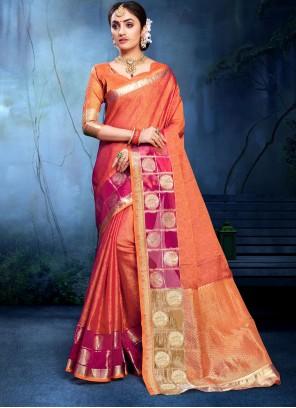 Cotton Silk Weaving Saree in Orange