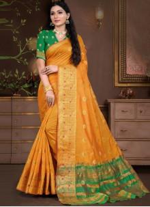 Cotton Silk Weaving Traditional Designer Saree in Mustard