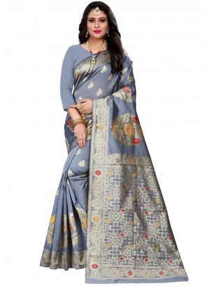 Cotton Silk Woven Casual Saree in Grey