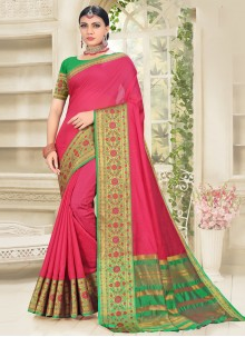 Cotton Silk Woven Designer Traditional Saree in Hot Pink