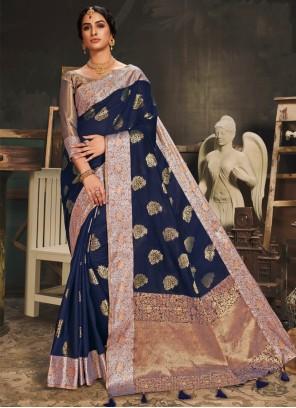 Cotton Silk Woven Navy Blue Traditional Designer Saree