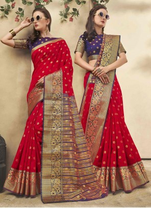 Cotton Silk Woven Red Casual Saree