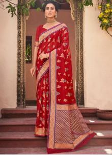Cotton Silk Woven Red Designer Traditional Saree