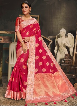Cotton Silk Woven Red Traditional Saree