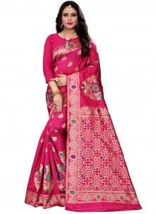 Cotton Silk Woven Traditional Saree in Rani