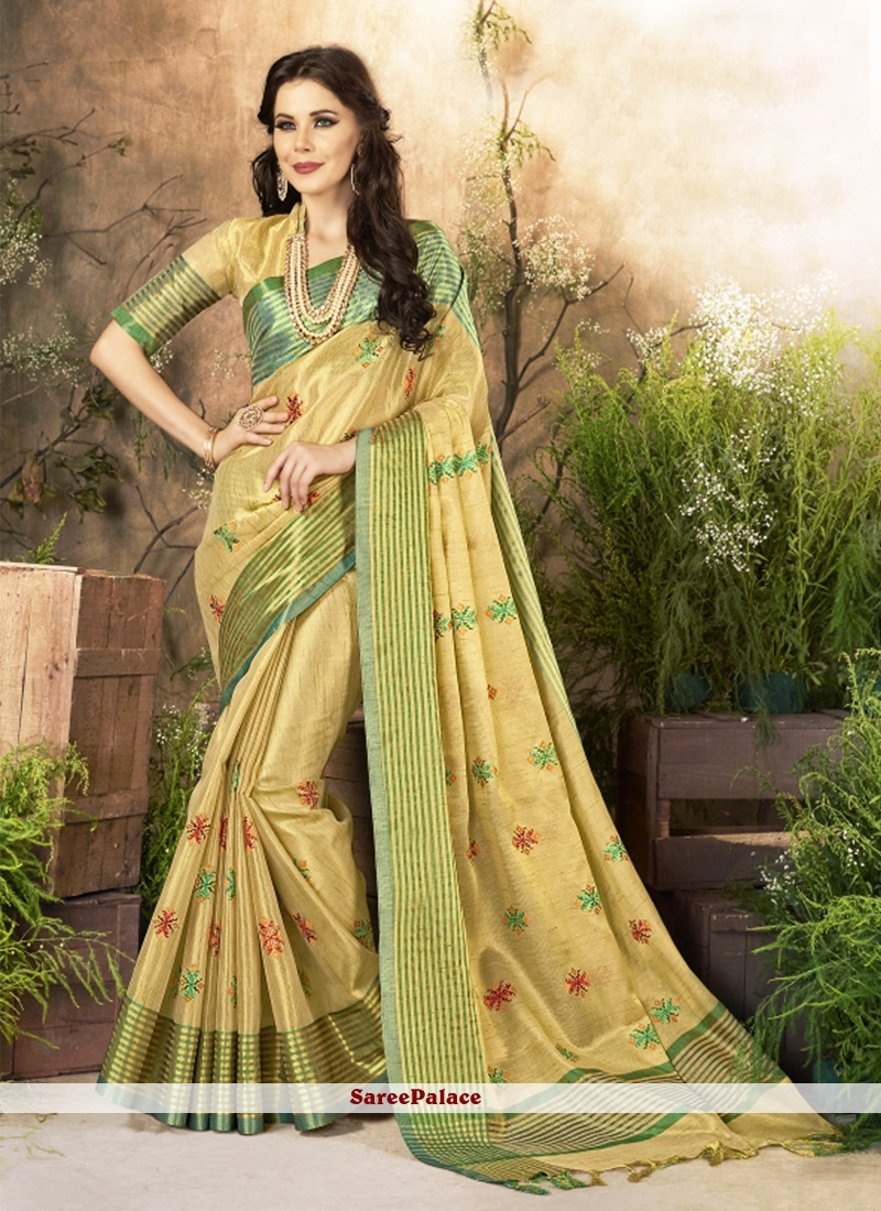 Cotton Silk woven Work Traditional  Saree