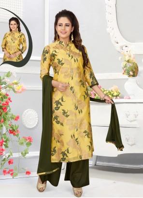 Cotton Silk Yellow Abstract Print Salwar Kameez