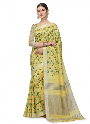 Cotton Silk Yellow Floral Printed Saree
