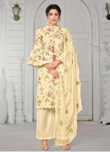 Cotton Straight Salwar Kameez in Cream