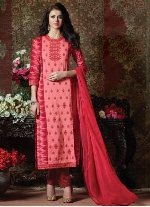 Cotton Straight Pink Salwar Suit