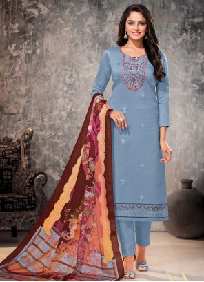 Cotton Straight Suit in Blue