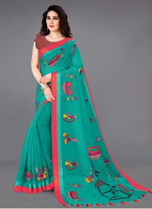 Cotton Teal Printed Saree