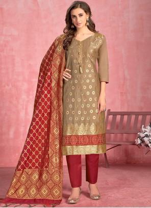 Cotton Thread Beige Salwar Suit