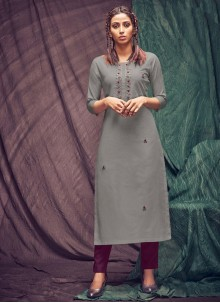 Cotton Thread Party Wear Kurti in Grey