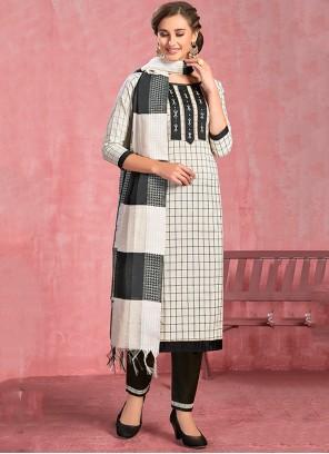 Cotton Thread White Salwar Suit