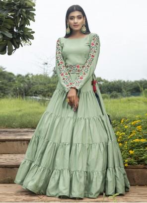 Cotton Thread Work Green Designer Gown