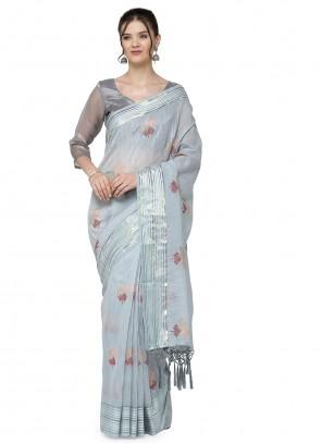 Grey Cotton Traditional Designer Saree