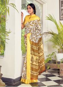 Off White Cotton Traditional Saree