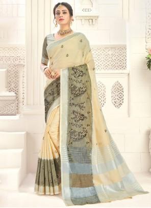 Cotton Traditional Saree in Cream