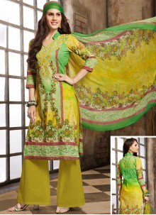 Cotton Trendy Palazzo Salwar Kameez in Green