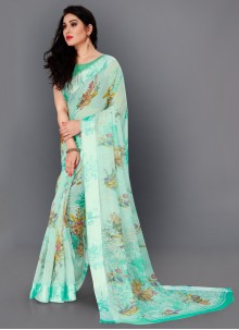 Cotton Turquoise Color Trendy Saree