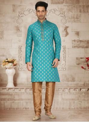 Cotton Turquoise Butta Kurta Pyjama