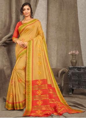 Cotton Weaving Beige Traditional Saree