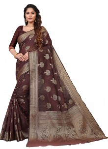 Cotton Weaving Casual Saree in Maroon