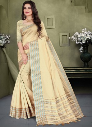 Cream Cotton Weaving Classic Saree
