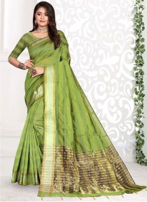 Cotton Weaving Green Classic Saree