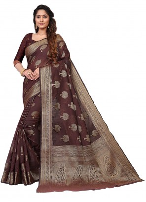 Cotton Weaving Maroon Designer Traditional Saree