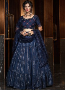 Cotton Weaving Navy Blue A Line Lehenga Choli